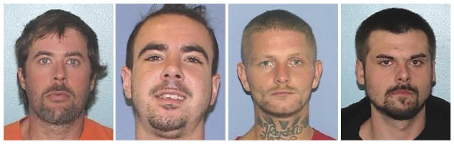 This combination of undated images provided by the Gallia County Sheriff's Office shows from left to right, Brynn Martin, Christopher Clemente, Troy McDaniel Jr. and Lawrence Lee III. Three of the four inmates who overpowered two female corrections officers and escaped from an Ohio county jail on Sunday, Sept. 29, 2019, were caught in North Carolina Monday, Sept. 30 after slightly more than a day on the run, authorities in both states said. Martin, Clemente and McDaniel Jr., are awaiting extradition to Ohio. (Gallia County Sheriff's Office via AP)