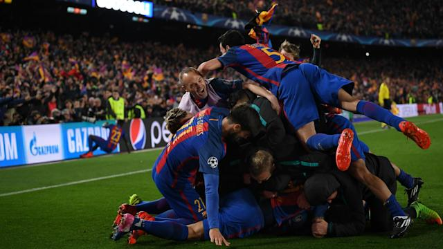 The understandably wild scenes of celebration at the end of Barcelona's 6-1 win over Paris Saint-Germain have earned the club a fine.