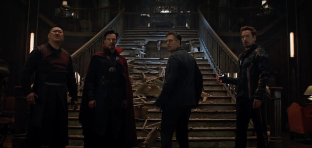 Wong and Doctor Strange team up with Science Bros Bruce Banner and Tony Stark. (Photo: Marvel Studios)