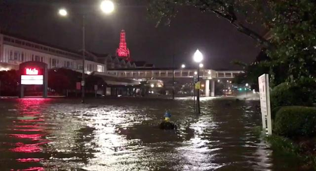 <p>A flooded street is seen in Mobile, Alabama, U.S., October 8, 2017, in this still image taken from a video obtained from social media. (Photo: Michael Schubert via Reuters) </p>
