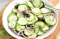 """<p>If you're not a fan of creamed cucumbers, this simple cucumber salad uses a vinegar-based dressing, making it an ideal side dish to bring to outdoor barbecues held.</p> <p><a href=""""https://www.thedailymeal.com/recipes/cucumber-salad-recipe-0?referrer=yahoo&category=beauty_food&include_utm=1&utm_medium=referral&utm_source=yahoo&utm_campaign=feed"""" rel=""""nofollow noopener"""" target=""""_blank"""" data-ylk=""""slk:For the Cucumber Salad recipe, click here."""" class=""""link rapid-noclick-resp"""">For the Cucumber Salad recipe, click here.</a></p>"""