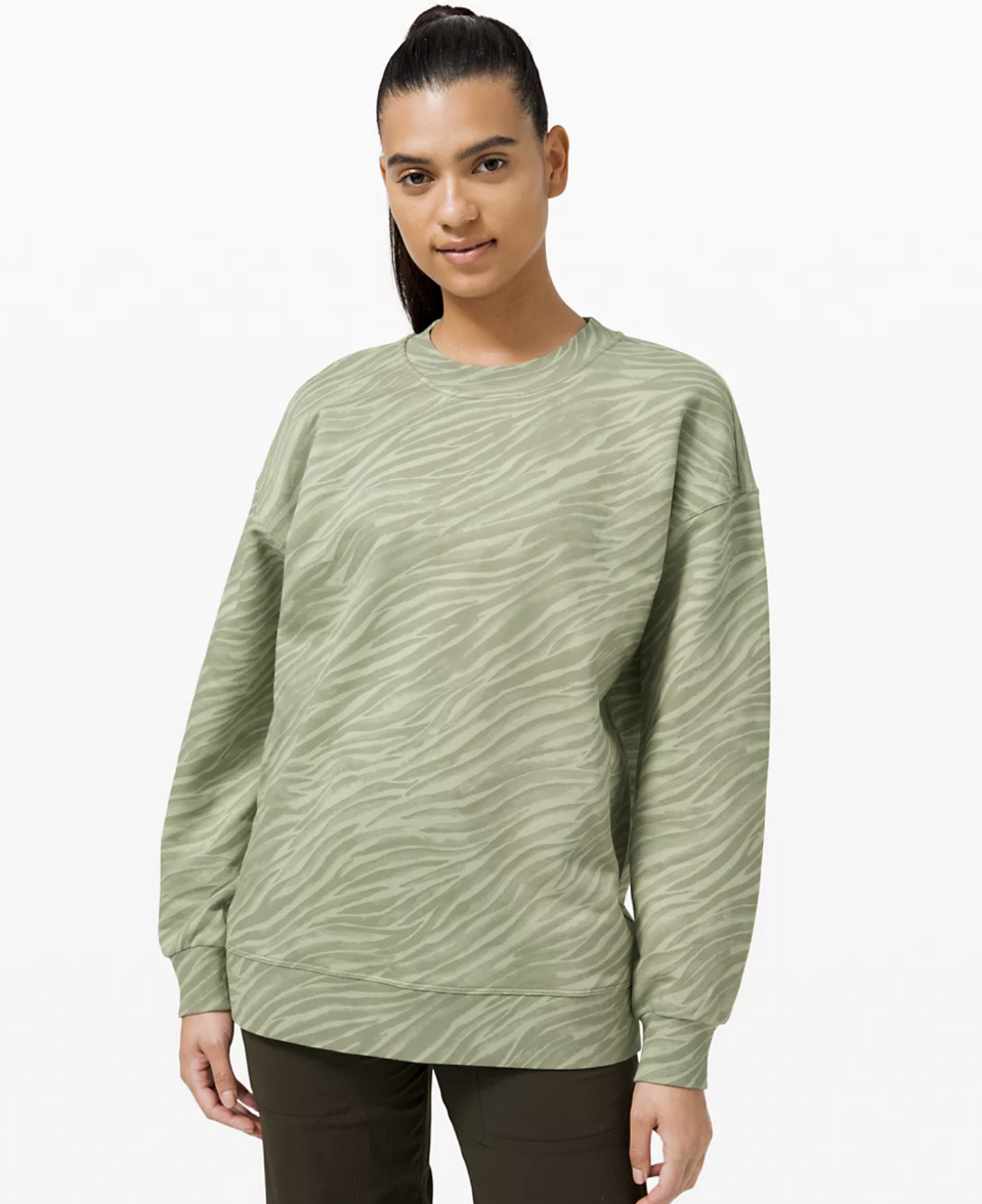 """<p><strong>Lululemon</strong></p><p>lululemon.com</p><p><a href=""""https://go.redirectingat.com?id=74968X1596630&url=https%3A%2F%2Fshop.lululemon.com%2Fp%2Fwomens-outerwear%2FPerfectly-Oversized-Crew-MD%2F_%2Fprod9710342&sref=https%3A%2F%2Fwww.seventeen.com%2Ffashion%2Fg30519407%2Fdoes-lululemon-have-sales%2F"""" rel=""""nofollow noopener"""" target=""""_blank"""" data-ylk=""""slk:Shop Now"""" class=""""link rapid-noclick-resp"""">Shop Now</a></p><p><strong><del>$108</del> $79 (27% off)</strong></p><p>This modern sweatshirt will look sick with your favorite leggings or with T-shirt and jeans–ya know, if you *actually* decide to get dressed any time soon.</p>"""