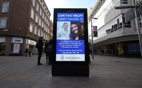 A digital police poster in the centre of Hull as the search continues for 21-year-old student Libby Squire - Credit: PA