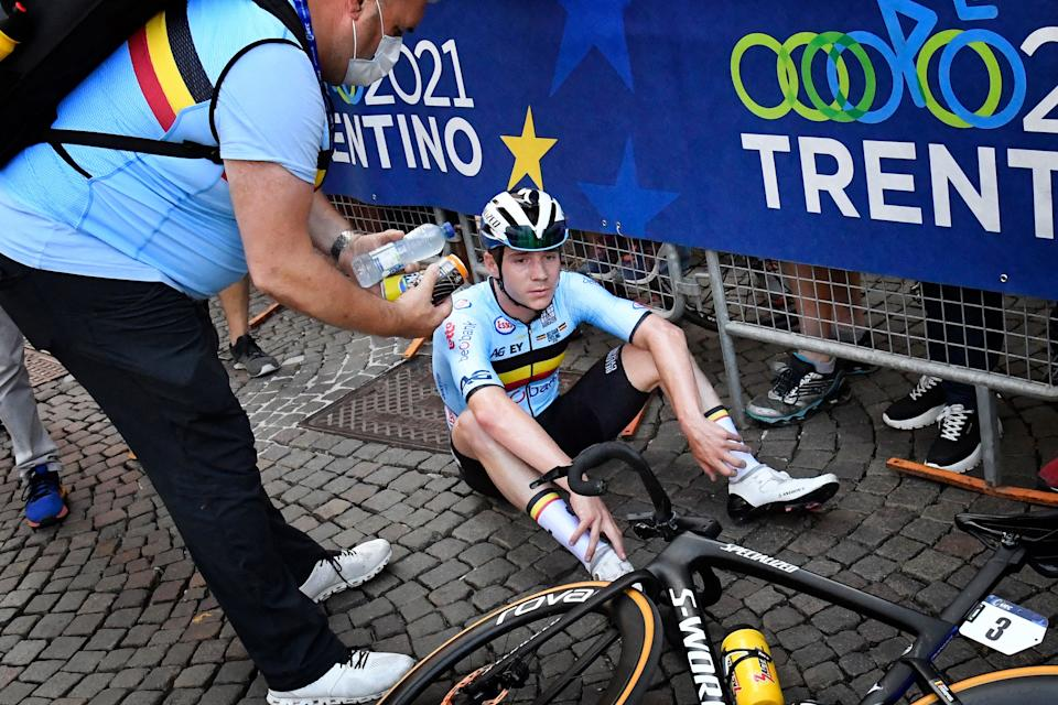 Belgian rider Remco Evenepoel reacts after taking the second place of the UEC European men Elite road cycling championships in Trento, on September 12, 2021. (Photo by Alberto PIZZOLI / AFP) (Photo by ALBERTO PIZZOLI/AFP via Getty Images)