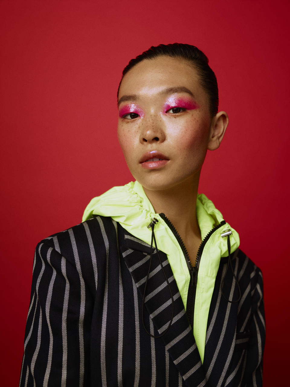 Hot pink lady. Chen Liu stars in the new ASOS Face + Body campaign. (Photo: ASOS)