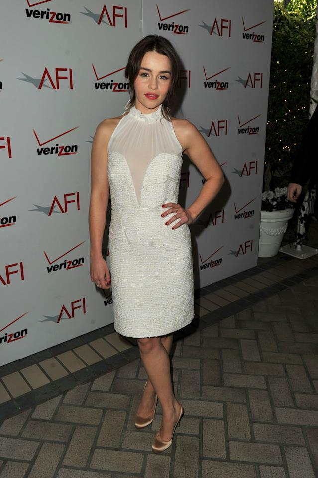 <p>Emilia Clarke arrives at the 12th Annual AFI Awards held at the Four Seasons Hotel Los Angeles at Beverly Hills on January 13, 2012 in Beverly Hills, California.</p>