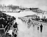 <p>President Franklin Delano Roosevelt presides over the crowd as the U.S. delegates arrived at the outdoor opening ceremony for the 1932 Winter Olympics in Lake Placid. </p>