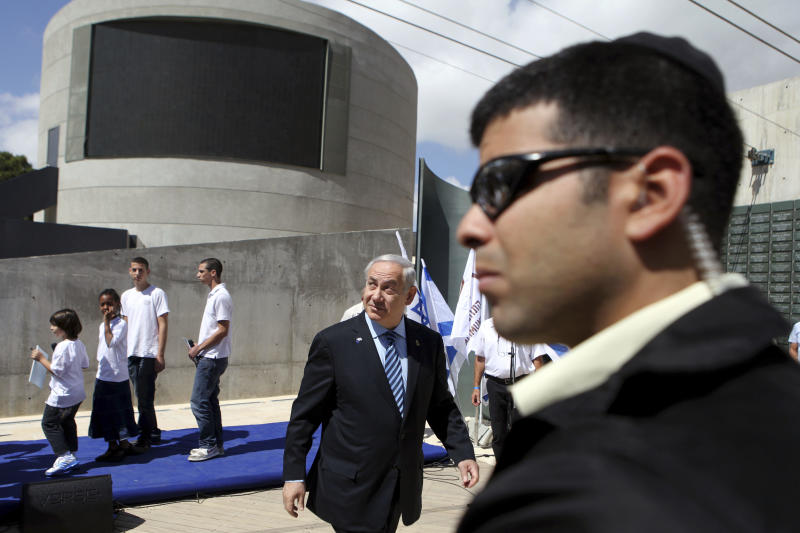 Israeli Prime Minister Benjamin Netanyahu arrives for a special cabinet meeting marking  'Jerusalem Day' in the Ammunition Hill  memorial in Jerusalem, Sunday, May 20, 2012. 'Jeruslem Day' marks the anniversary of Israel's capture of the eastern part of the city in the 1967 Mideast war.(AP Photo/Abir Sultan, Pool)