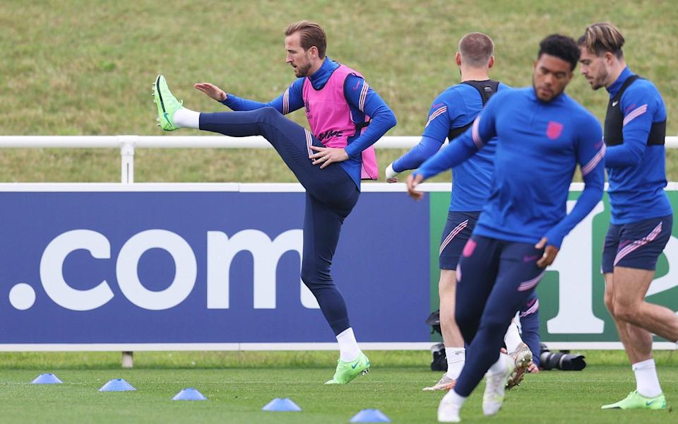 JULY 02: Harry Kane of England trains during the England Training Session at St George's Park on July 02, 2021 in Burton upon Trent, - GETTY IMAGES