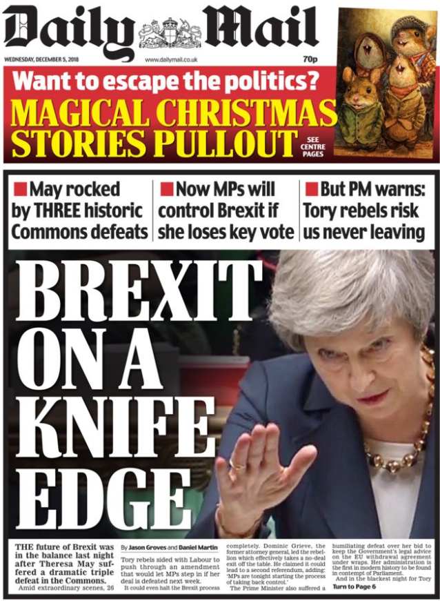 The paper said the public's trust in political class was under threat (Daily Mail)