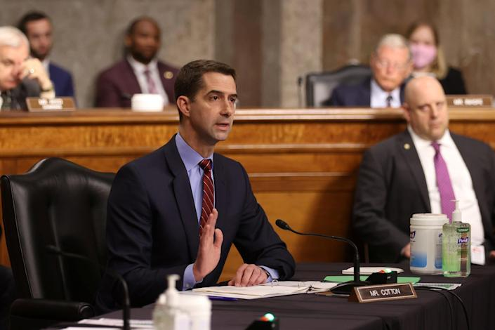 U.S. Senator Tom Cotton (R-AR) questions Secretary of Defense Lloyd Austin during a Senate Armed Services Committee hearing on the Pentagon's budget request, on Capitol Hill in Washington (REUTERS)
