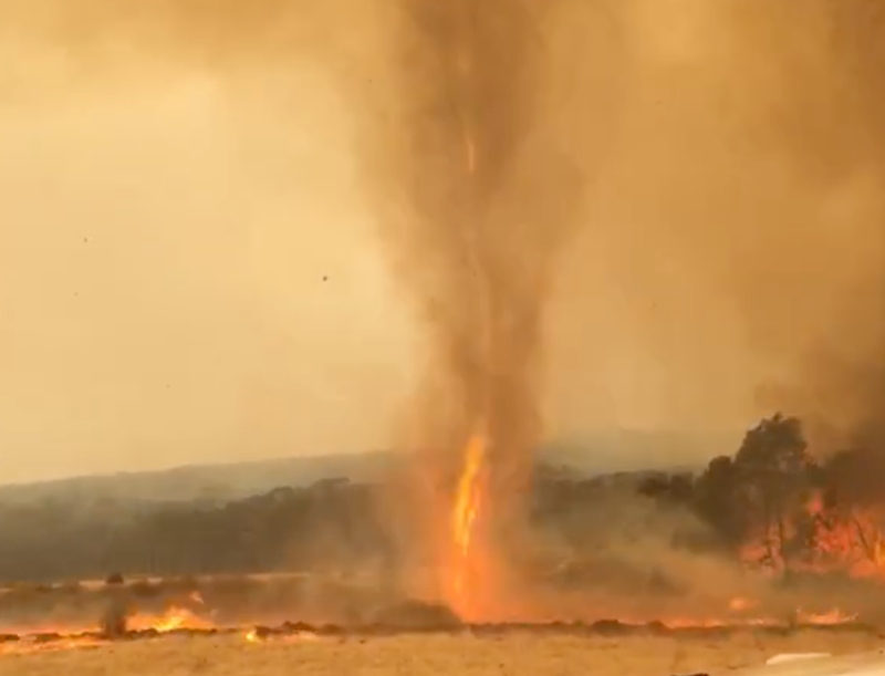 Fire tornado emerges out of the ground on Kangaroo Island.