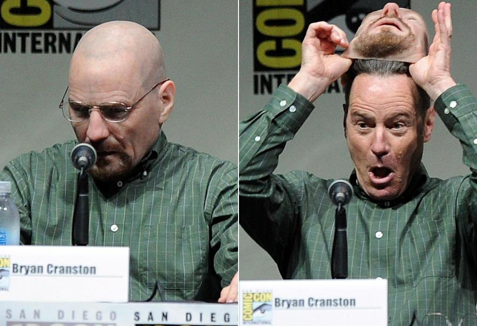 <p>At the 2013 <i>Breaking Bad</i> panel at Comic-Con, star Cranston pulled off his Walter White mask to reveal he had been the one walking around Hall H as his own TV alter ego. So meta. <i>(Photo: Kevin Winter/Getty Images)</i></p>