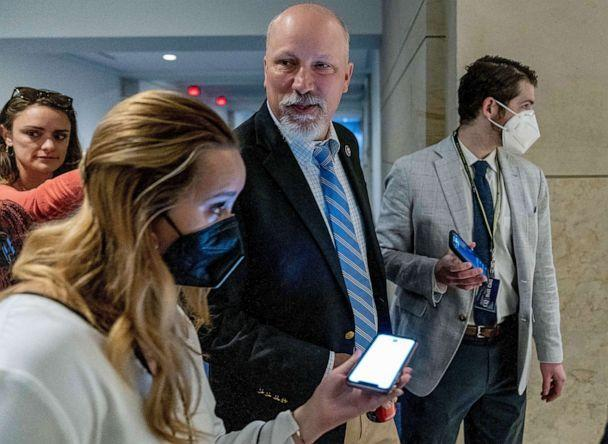 PHOTO: Rep. Chip Roy, center, arrives as the House Republican Conference meets to elect a new chairman to replace Rep. Liz Cheney, who was ousted from the GOP leadership, at the Capitol in Washington, D.C., May 14, 2021. (Andrew Harnik/AP)