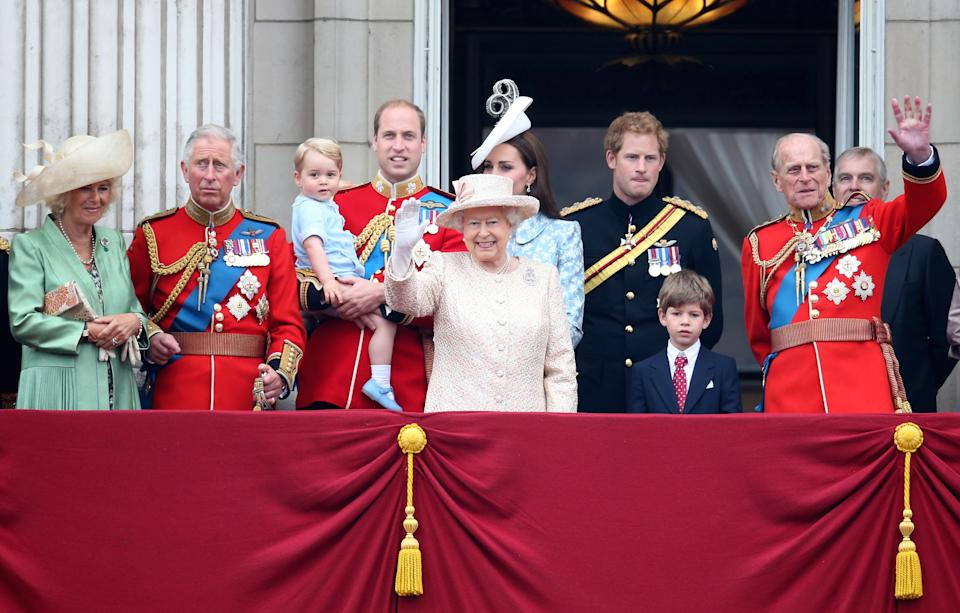 The royal family attend the Trooping The Colour ceremony on June 13, 2015 in London, England.