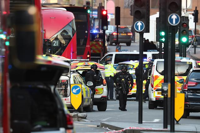 Police at the scene of an incident on London Bridge in central London.
