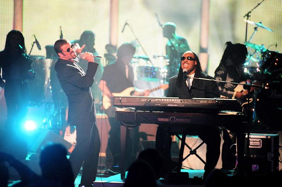 <p>George Michael and Stevie Wonder during the 1997 VH1 Honors in Los Angeles. (Photo: Jeff Kravitz/FilmMagic, Inc) </p>