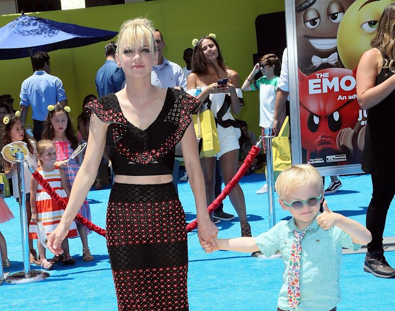 WESTWOOD, CA - JULY 23: Actress Anna Faris (L) and son Jack Pratt attend the premiere of Columbia Pictures and Sony Pictures Animation's