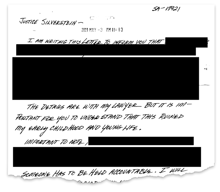 One of hundreds of letters sent to Judge Laurie Silverstein in the Boy Scouts bankruptcy case depicting stories of sexual abuse. The redactions have led some survivors to feel they are being censored.