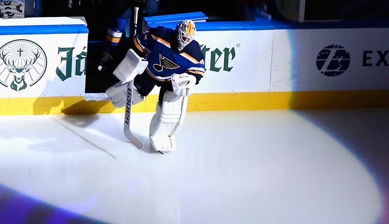 EDMONTON, ALBERTA - AUGUST 19: Jake Allen #34 of the St. Louis Blues leads his team out to face the Vancouver Canucks in Game Five of the Western Conference First Round during the 2020 NHL Stanley Cup Playoffs at Rogers Place on August 19, 2020 in Edmonton, Alberta, Canada. (Photo by Jeff Vinnick/Getty Images)