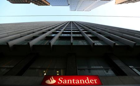 FILE PHOTO:  A Santander logo is seen in Rio de Janeiro, Brazil, September 6, 2017.  REUTERS/Sergio Moraes/File Photo
