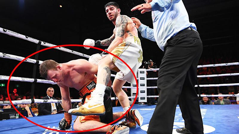 Jeff Horn, pictured here second before his loss to Michael Zerafa.