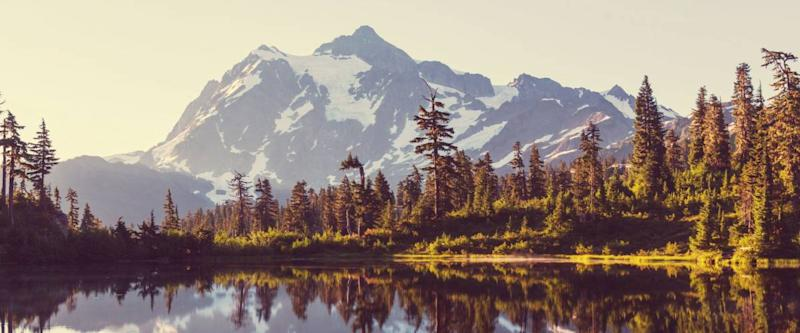 Scenic Picture lake with mount Shuksan reflection in Washington, USA