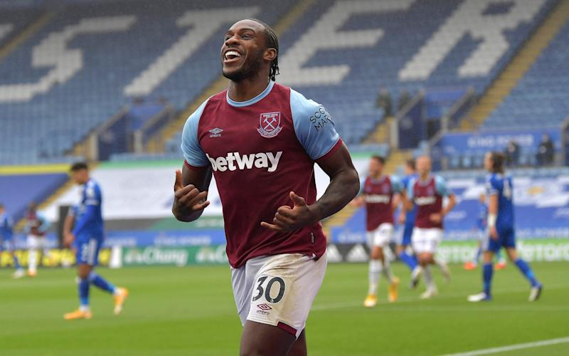Michail Antonio of West Ham United celebrates after scoring during the Premier League match between Leicester City and West Ham United at The King Power Stadium on October 4, 2020 in Leicester, United Kingdom. - GETTY IMAGES