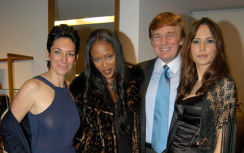 Ghislaine Maxwell with Naomi Campbell, Donald Trump and Melania Knauss in 2002 - Patrick McMullan