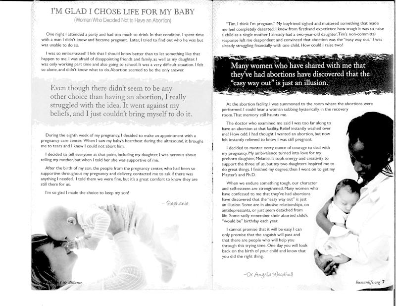 A page from a Human Life (crisis pregnancy center and anti-abortion organization) pamphlet.