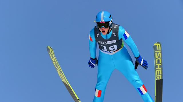 <p>Jonathan Learoyd of France competes in the Ski Jumping Men's Individual Competition at Lysgårdsbakkene Ski Jumping Arena during the Winter Youth Olympic Games in Lillehammer, Norway.</p>