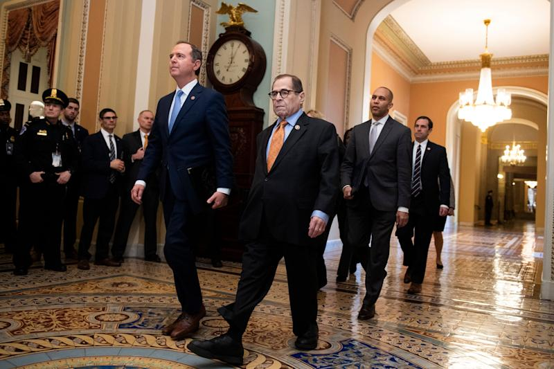 Impeachment managers arrive at the Senate to read the articles of impeachment on Thursday, led by Reps. Adam Schiff (D-Calif.), left, and Jerrold Nadler (D-N.Y.). (Photo: Tom Williams via Getty Images)