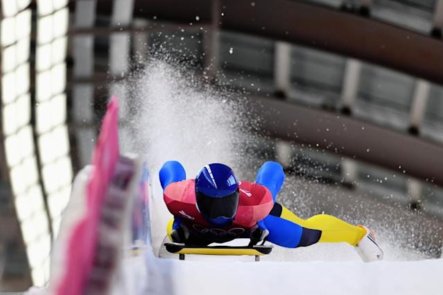 <p>Vladyslav Heraskevych of Ukraine slides into the finish area during the Men's Skeleton heats on day six of the PyeongChang 2018 Winter Olympic Games at the Olympic Sliding Centre on February 15, 2018 in Pyeongchang-gun, South Korea. (Photo by Matthias Hangst/Getty Images) </p>