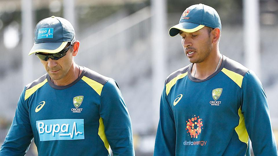 Pictured here, Australia coach Justin Langer and former Test opener Usman Khawaja at a training session.