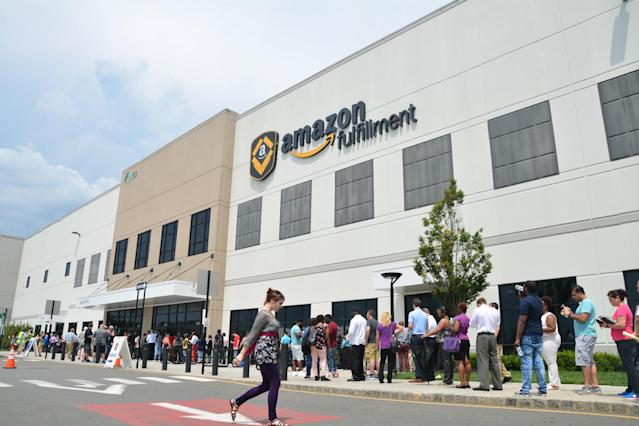 The line was so long that it wound around the massive fulfillment center. (Krystal Hu/Yahoo Finance)