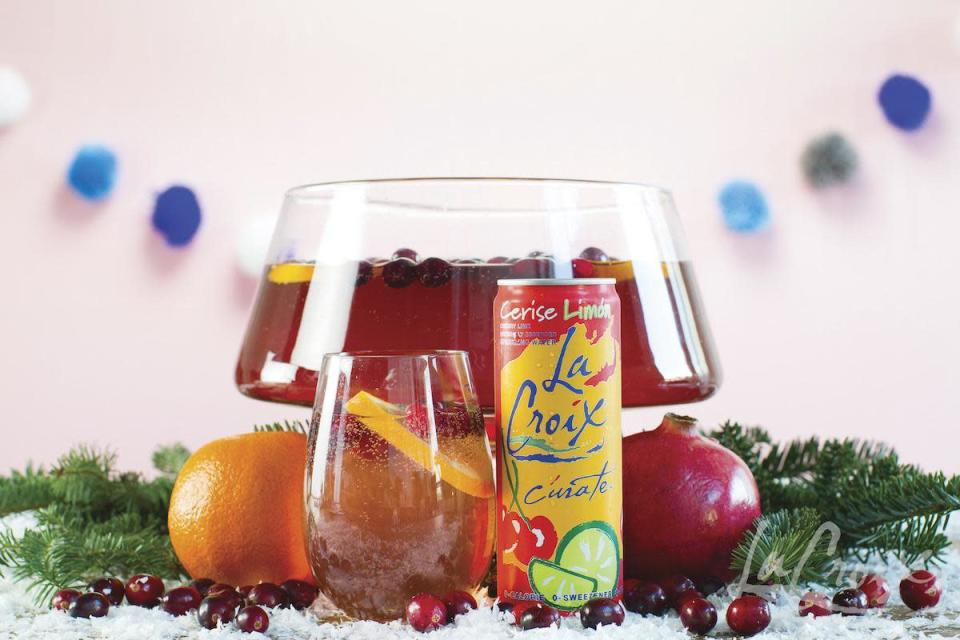 """<p>Make a more berry-based punch with cherry lime-flavored LaCroix. Add in non-alcoholic sparkling wine and pomegranate juice with some sliced berries and fruits.</p> <p><a href=""""https://www.thedailymeal.com/recipes/la-pom-punch-mocktail-lacroix?referrer=yahoo&category=beauty_food&include_utm=1&utm_medium=referral&utm_source=yahoo&utm_campaign=feed"""" rel=""""nofollow noopener"""" target=""""_blank"""" data-ylk=""""slk:For the La Pom Punch recipe, click here."""" class=""""link rapid-noclick-resp"""">For the La Pom Punch recipe, click here.</a></p>"""