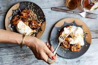 """The thing about fresh apricots is that they're often just… fine. But grilling concentrates their flavor and boosts their sweetness in a wonderful way. <a href=""""https://www.epicurious.com/recipes/food/views/grilled-apricots-with-almond-cream-and-fregolotta?mbid=synd_yahoo_rss"""" rel=""""nofollow noopener"""" target=""""_blank"""" data-ylk=""""slk:See recipe."""" class=""""link rapid-noclick-resp"""">See recipe.</a>"""