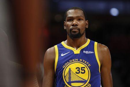 FILE PHOTO: Dec 1, 2018; Detroit, MI, USA; Golden State Warriors forward Kevin Durant (35) looks on during the third quarter against the Detroit Pistons at Little Caesars Arena. Mandatory Credit: Raj Mehta-USA TODAY Sports