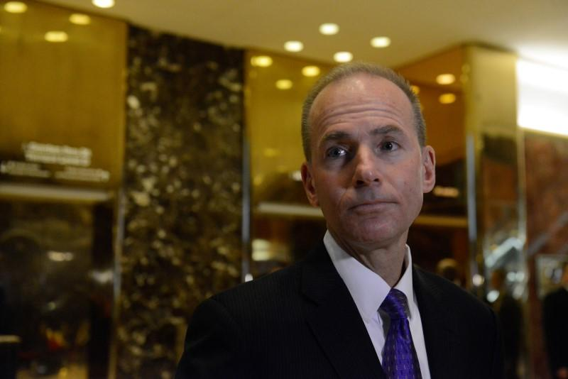 FILE PHOTO: Dennis Muilenburg, CEO of The Boeing Company, arrives at Trump Tower in New York City