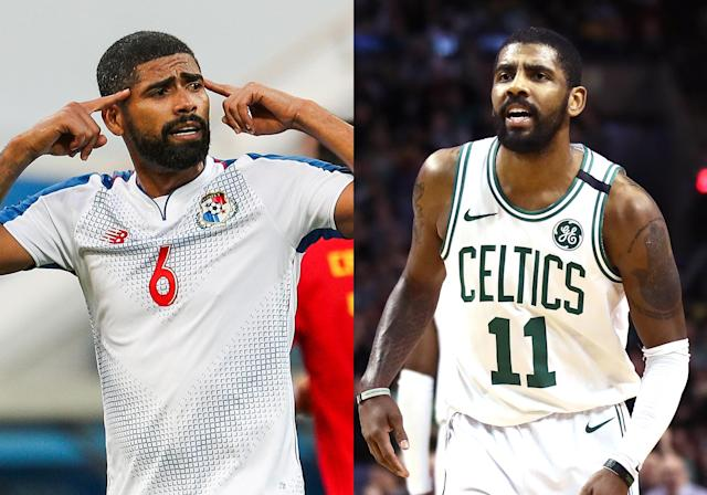<p>Panama's Gabriel Gomez and Kyrie Irving </p>