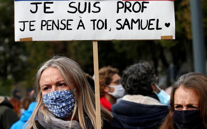 Tribute to Samuel Paty, the French teacher beheaded on the streets of the Paris suburb of Conflans St Honorine, in Lille - PASCAL ROSSIGNOL/REUTERS