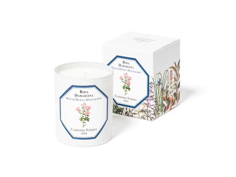 Carrière Frères Damask Rose candle; $50. carrierefreres.com