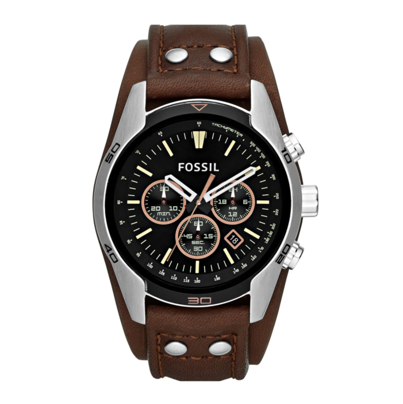 Fossil 'Sport' Chronograph Leather Cuff Watch. Image via Nordstrom.