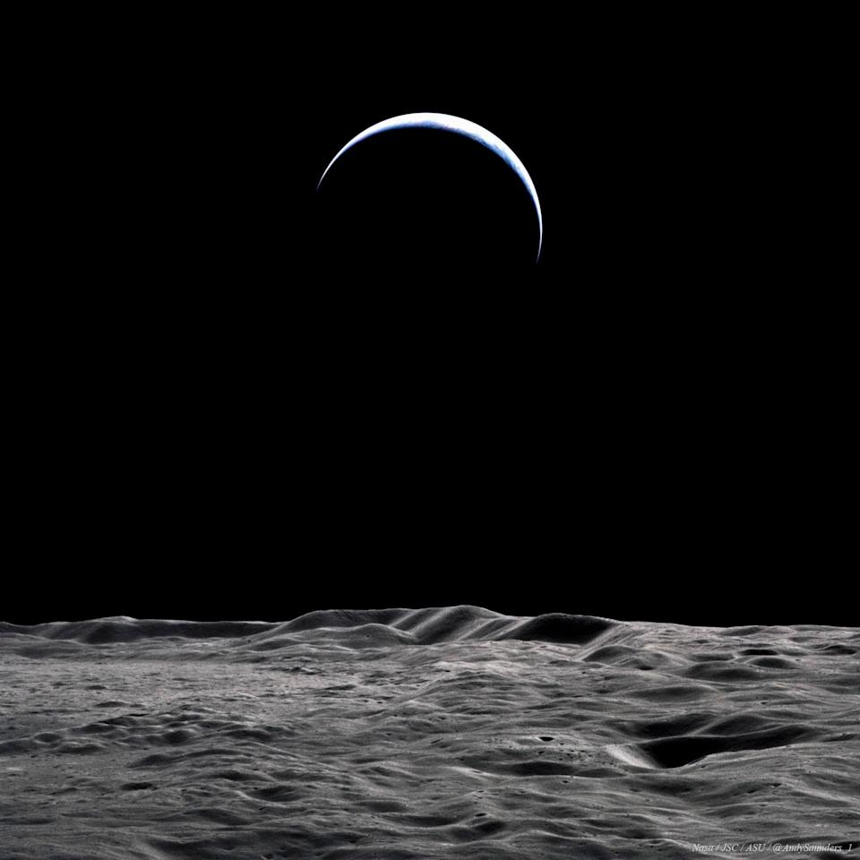 A photo of the Earth from the moon.