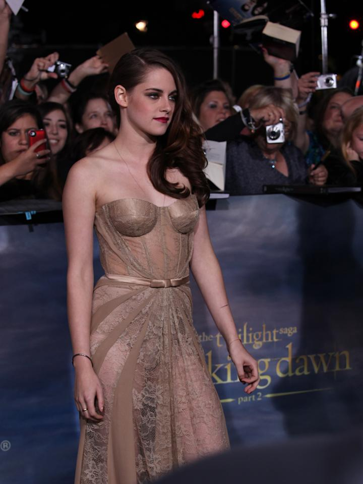 "Kristen Stewart arrives at ""The Twilight Saga: Breaking Dawn - Part 2"" Los Angeles premiere at the Nokia Theatre L.A. Live on November 12, 2012 in Los Angeles, California."