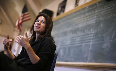 Opera singer Ana Maria Martinez speaks to students at Lake View High School in Chicago, Illinois, October 22, 2014. REUTERS/Jim Young