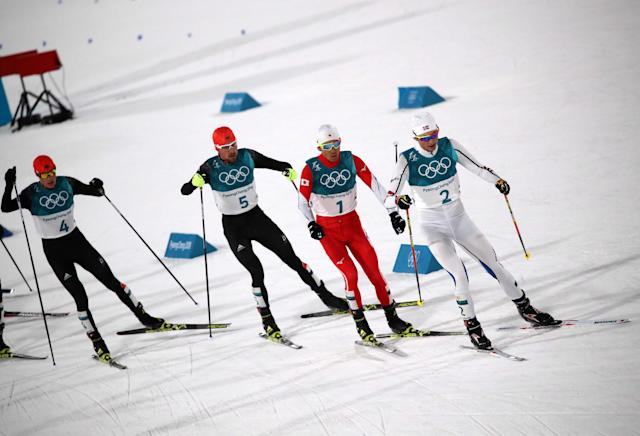 Nordic Combined Events - Pyeongchang 2018 Winter Olympics - Men's Individual 10 km Final - Alpensia Cross-Country Skiing Centre - Pyeongchang, South Korea - February 20, 2018 - Eric Frenzel of Germany, Johannes Rydzek of Germany, Akito Watabe of Japan and Jarl Magnus Riiber of Norway in action. REUTERS/Carlos Barria