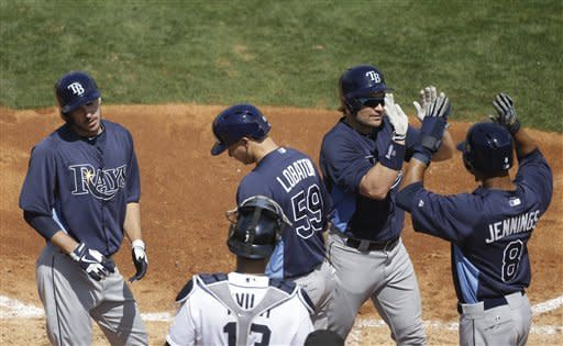 Tampa Bay Rays' Luke Scott, second from right is congratulated by Desmond Jennings, Jose Lobaton, (59) and Matt Joyce, left, after hitting a grand slam in the fourth inning during an exhibition spring training baseball game against the Detroit Tigers, Tuesday, March 19, 2013 in Lakeland, Fla. (AP Photo/Carlos Osorio)