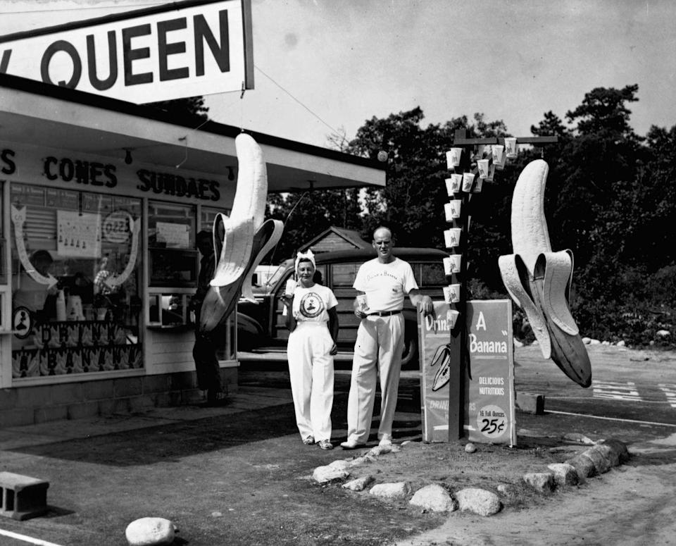 """<p>Dairy Queen arguably invented the Banana Shake -- equipped with mascots Banana Burt and Banana Lil standing outside the restaurant with the memorable slogan """"Drink a Banana"""" in 1950. </p>"""