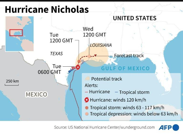 Location and predicted path of Hurricane Nicholas in the Gulf of Mexico (AFP/Laurence SAUBADU)